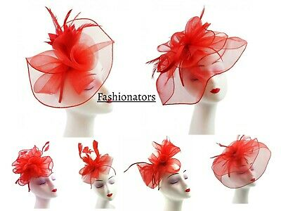 Women Red Fascinator Headband & Clip 6 Designs Wedding Hat Bridal Race Ascot UK