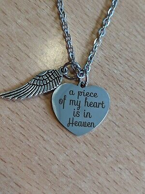 925 Silver Plt /'A Piece Of My Heart Lives In Heaven/' Loss Engraved Necklace A
