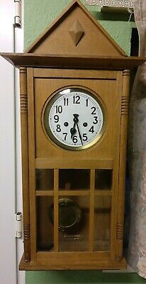 Large Gustav Becker 8 Day Striking Wall Clock  Light Oak Case
