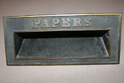 Antique Vintage Cast Bronze / Brass Paper Slot   Awesome !!!!!!
