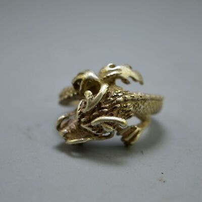 Chinese Collectable Handwork Old Miao Silver Carve Roaring Dragon Amulet Rings