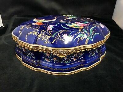 Antique Hand Painted French Porcelain And Gilt Bronze Jewellery Box