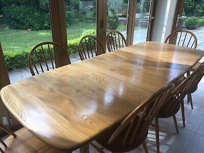 Vintage Grand Windsor Ercol Extending Dining Table In Blonde, Mid Century Modern