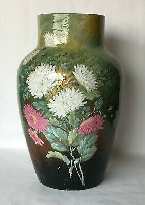 Large Antique French Art Pottery Barbotine Vase 15 3/8 Inches 39 cm Tall