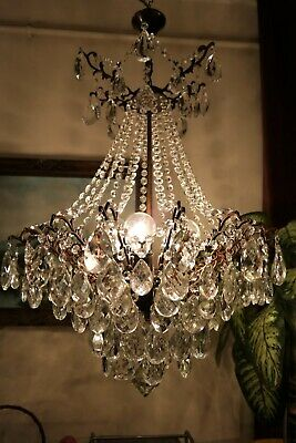 Antique Vnt. HUGE French SPIDER Style Crystal Chandelier Light LAMP 1940's 21 in