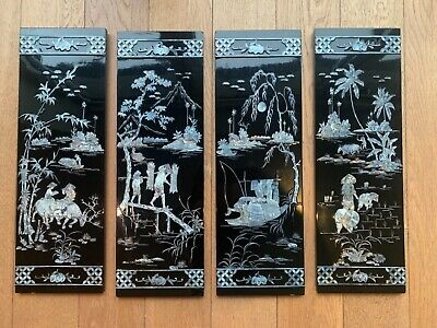 Oriental Chinese Mother of Pearl Lacquered wooden picture panels