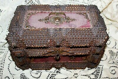 Fabulous Antique Tramp Art Box with Lock and Key