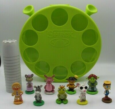 "DreamWorks Shrek Case w/2"" PVC Figures & Cups Donkey Fiona Blind Mouse Puss More"