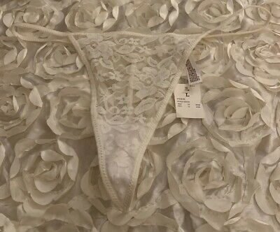 Vintage Gilligan & Omalley  Floral Lace V-String Thong Panties  Size L NWT