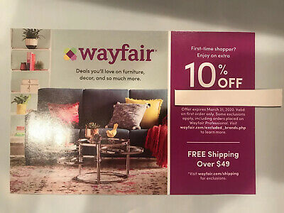 WAYFAIR 10% off Coupon Discount Code For First Time Shoppers! Expires 03/31/20