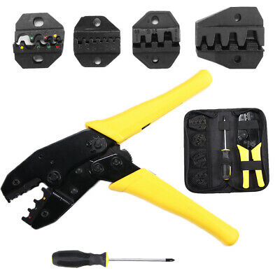 New Ratchet Crimper Plier Crimping Tool Cable Wire Electrical Terminals Kit UK