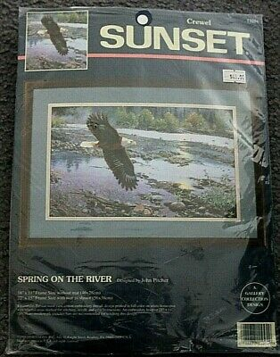 NEW - Sunset  CREWEL embroidery Kit - Spring on the River - EAGLE  new