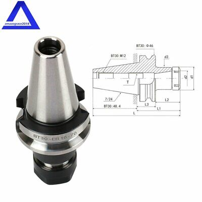 "4Pcs BT30-ER20 COLLET CHUCK W.2.76/""//70mm GAGE LENGTH Tool Holder Set Fast Cover"