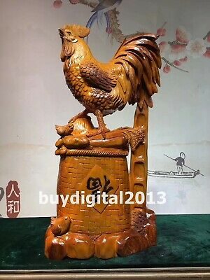 rosewood palisander auspicious Wealth Animal chicken cock rooster wood sculpture
