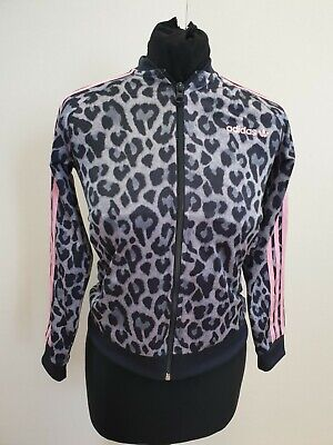 O307 Girls Adidas Originals Grey Pink Leopard Print Tracksuit Jacket 9-10 Years