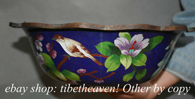 """12.4"""" Old Chinese Blue Cloisonne Copper Imperial Palace Peony Flower Bird Bowl"""