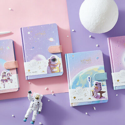 """Back Moon"" 1pc Hard Cover Cute Journal White Papers Astronaut Universe Diary"