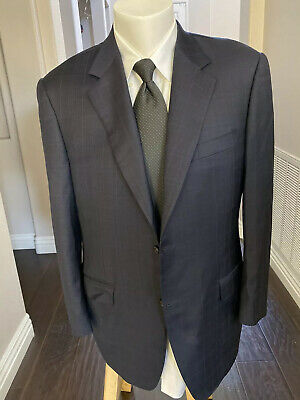 Canali Men's 2 Button Blazer Dark Blue Made in Italy 100% Pure Wool Size 42R