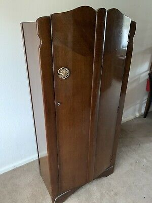 Vintage Art Deco Antique Single Door Wardrobe,Original Sold Wood Veneered Walnut