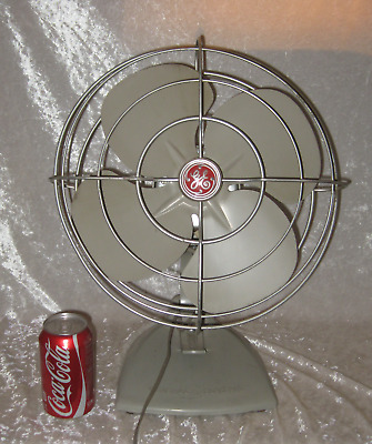 "Quite WORKING 1950's GE (General Electric) 12"" 2 Speed Oscillating Fan F13S125"