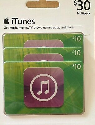 iTunes $30 Physical Gift Cards 3 $10 Cards Apple