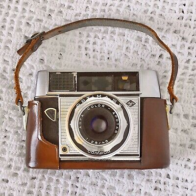 Vintage Camera - Agfa Optima IIIS Compur Compor Working With Case And Strap