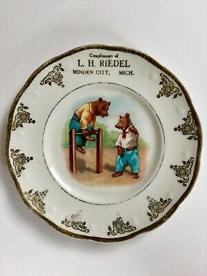 Rare Antique Humanized Bears Advertising Plate, L.H. Riedel Minden City, MI