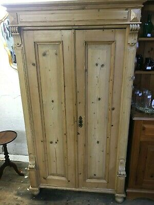 Old Pine Double Wardrobe / Cupboard - Very decorative - Vintage / Antique Style