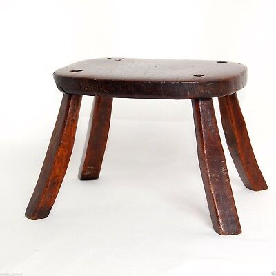 GEORGIAN ELM CHILD'S MILKING STOOL ANTIQUE c.1750 6in H