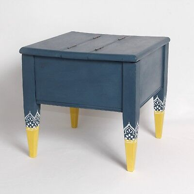 SEWING STOOL LIDDED BOX CHEST UPCYCLED VINTAGE c.1930 32cm H