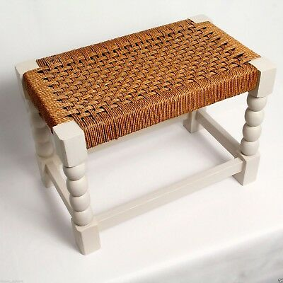 OAK RAFFIA FOOT STOOL ECO UPCYCLED VINTAGE c.1940  21in L