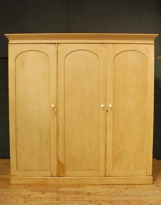 Large Victorian 19th Century Stripped Old Pine Wardrobe