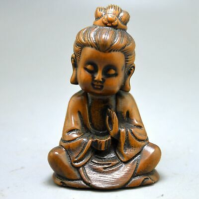 China Collectable Handwork Old Boxwood Carve Gracious Buddha Souvenir Statues