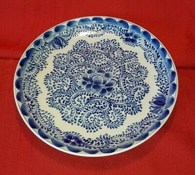 FINE ANTIQUE 18th Century CHINESE BLUE & WHITE FLORAL PLATE hand painted
