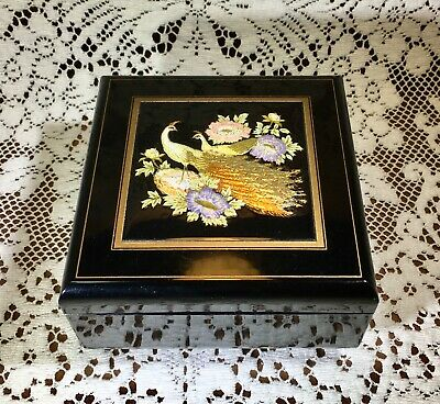 Vintage Japanese Black Lacquered Musical Jewelry Box