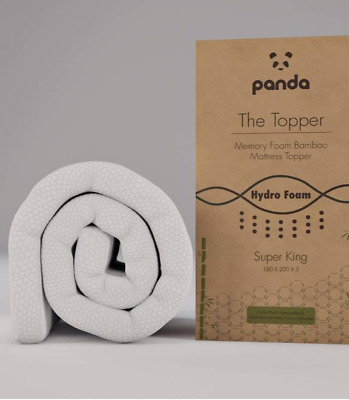 Panda Memory Foam Bamboo Super King Mattress Topper Hypoallergenic Antibacterial
