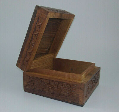Small Wooden Box Handcarved Design Made in India Trinket Box Approx. 4.25""