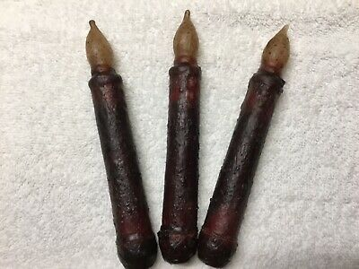 "THREE Primitive Burgundy LED 6.5"" Battery Operated TIMER Taper Candles"