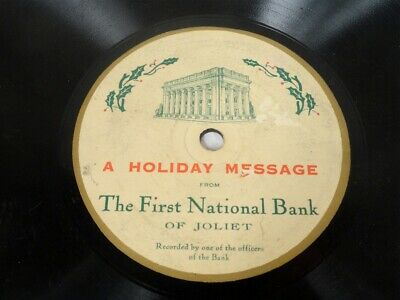 RARE  The FIRST NATIONAL BANK of JOLIET  1930's Record Joliet IL Holiday message