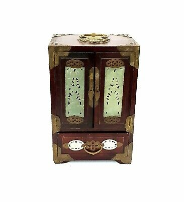 Antique/Vintage Chinese Wood Jewelry Box With Carved Jade & Brass Fittings