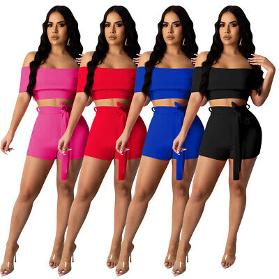 Women Short Sleeves Boat Neck Solid Color Belted Club Party Short Pants Set