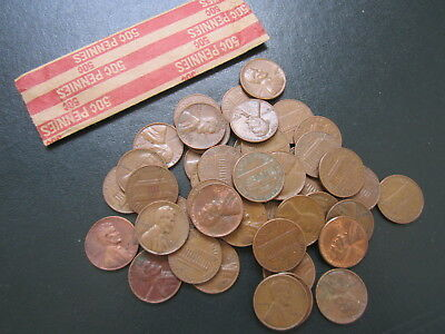 1964 D or P Denver Mint Lincoln Memorial Copper cent Penny Roll 50 -Circulated