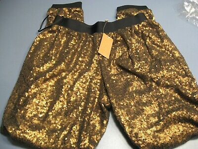 Rachel Rachel Roy Sequined Joggers Pants $149 Tag * Gold/Brass * Small * S * Nwt