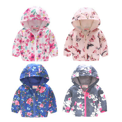 Girls Boys Baby Toddler Floral  Raincoat Kids Printed Rain Hooded Coat Rainwear