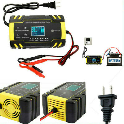 Motorcycle ATV Fully-Automatic Smart Charger Battery Maintainer Desulfator Tool
