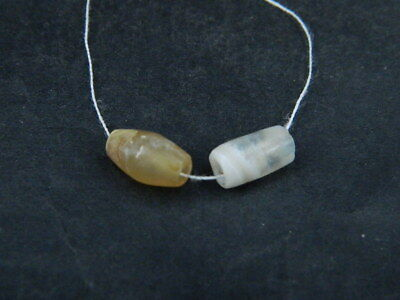 Ancient Agate 2 Bead Roman 200 BC #BE5026