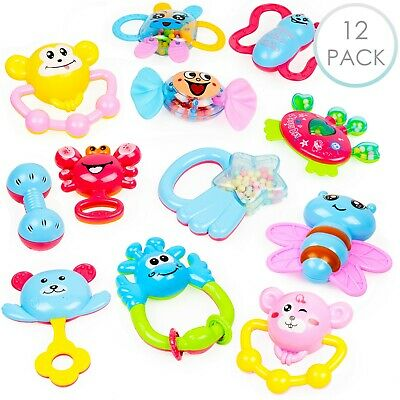 12 PCS Baby Teether Toys Teething Toys Rattle Play Toy Kids Sensory Chew Toys
