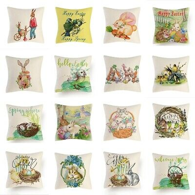 Spring Easter Bunny Flower Truck Egg Pillow Case Couch Cushion Cover Home Decor