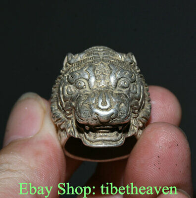 4CM Old Chinese Miao Silver Dynasty Palace bear xiong Head Luck Ring Rings