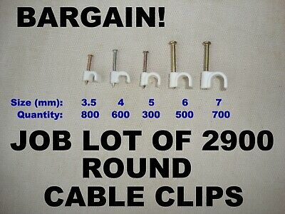 85pc White Plastic Round Electrical Wire Cable Clips TV Phone Internet UK SALE